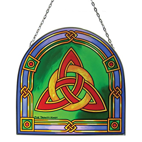 Irish Celtic Trinity Knot Stained Glass Panel