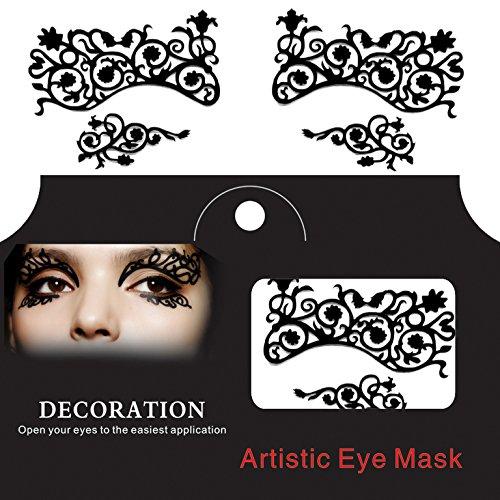 Bluelover Eye Tatouage Autocollant Halloween Lace Yeux Spongieux Doublure Fretwork Masquerade Papercut Visage Temporaire - Rouge