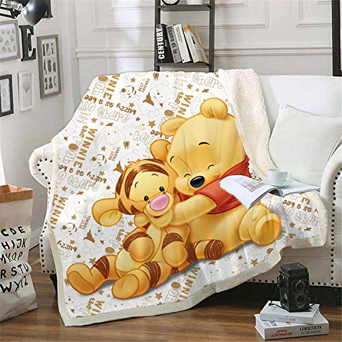 NICHIYO Winnie The Pooh Wohndecke Kuscheldecke Fleecedecke extra Weich Warm Sofadecke Couchdecke Flauschige Decke Erwachsene Kinder Mikrofaser for Bettcouch und wolldecke (06,150 * 200cm)