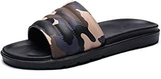 Bin Zhang Leisure Sandals for Men Open Toe Slippers with Camouflage Pattern Slides Breathable Lightweight Adjustable Wear Resistant (Color : Brown, Size : 7 UK)