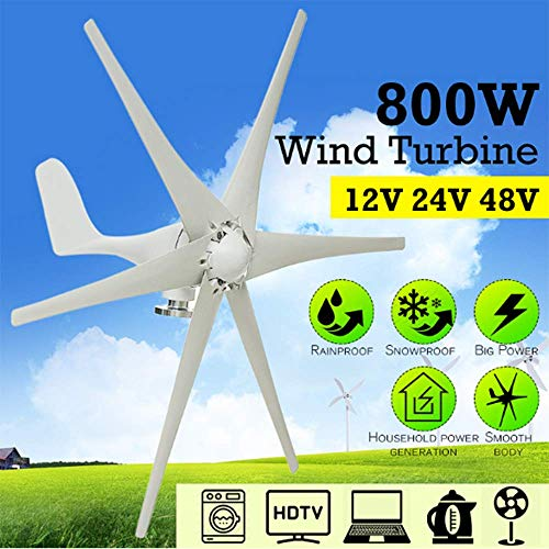SISHUINIANHUA 24.12 / 48V 6 Blades 800W Horizontal Startseite Windturbine Windgenerator Energie Windrad-Energie-Turbine Lade,24v