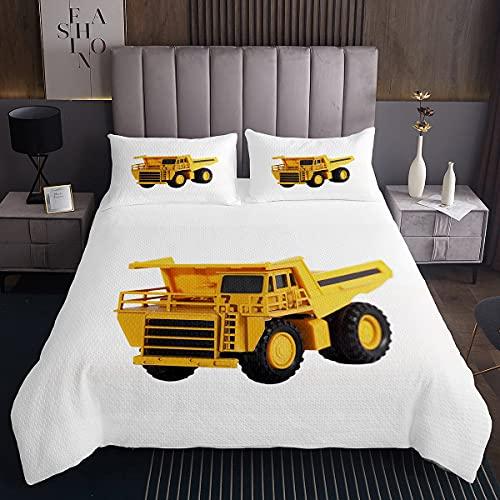 Juego de colcha para camión de construcción y cubrecama acolchada para niños y niñas, juguete para coche, camión, microfibra, acolchado, dormitorio, tamaño King