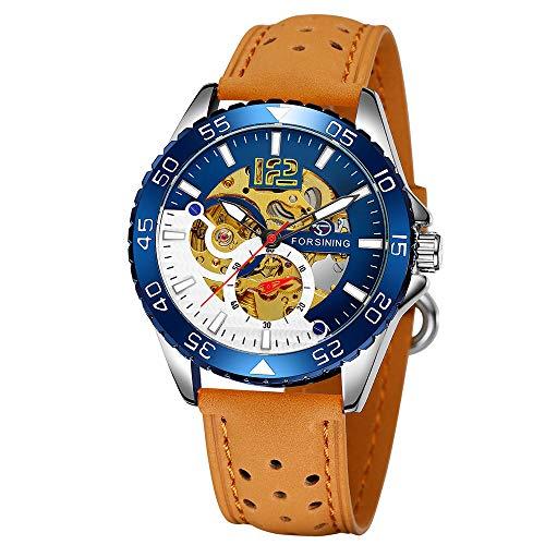 FORSINING 337 Mechanisches Uhrwerk Herrenuhr 3ATM Wasserdicht Luxury Business Luminous Herrenuhr Skeleton Armbanduhr für Herren mit Lederband
