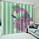 WAFJJ Juego de 2 Cortinas Flamenco Rosa para Dormitorio Salón Habitación Comedor con Ojales, Decoración de Ventana Semiopacas Tamaño:2x117x138cm(An x Al)