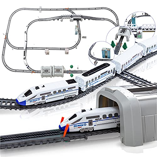 Electric Train Set for Kids for Holidays Around Christmas Tree with Tracks, High Speed Bullet Engine on Railroad with Sound & Light, Experience Polar Express with Many Accessories and Multiple Paths