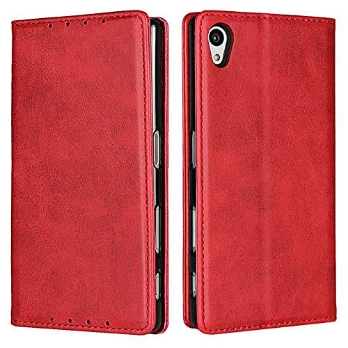 Zouzt Vagen Leder Folio Flip Wallet Hülle Kompatibel mitSony Xperia Z5 mit Magnetverschluss/Ständerfunktion/Kartensteckplätzen (rot)
