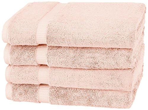 Pinzon Organic Cotton Bath Sheet Towel, Set of 4, Pale Peach