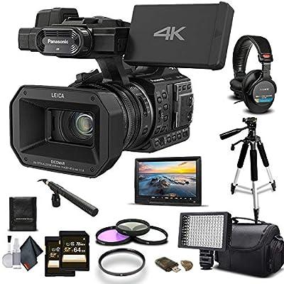 Panasonic HC-X1000 4K DCI/Ultra HD/Full HD Camcorder 2-64GB Cards, LED Light, Case, Tripod, Rode Mic, External Screen Sony Headphones - Professional Bundle from Panasonic