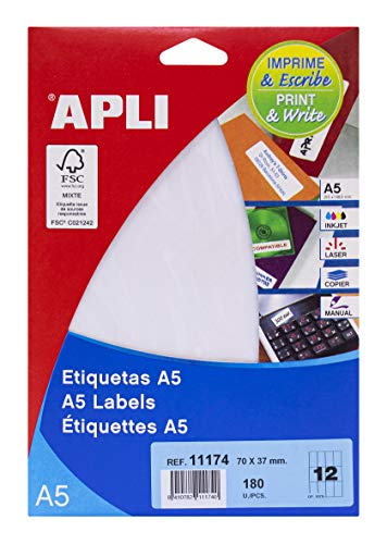 APLI 11174 - Etiquetas A5 blancas 70