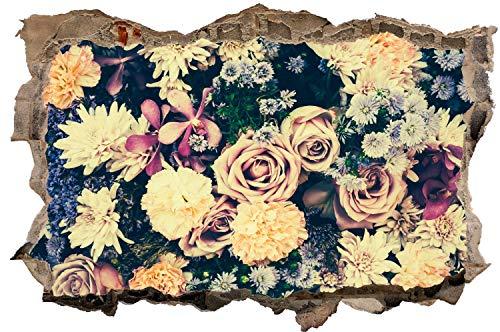 DesFoli Rosen Vintage Blumenstauß Wandtattoo Wandsticker Wandaufkleber D2993 Größe 100 cm x 150 cm
