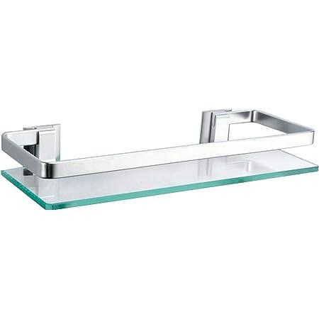 Alicemall Estanteria Baño de 350 x 120 mm Cristal Aluminio Estante Templado Vidrio Extra Grueso esmerilado Rectangular de Pared con Barandilla ...