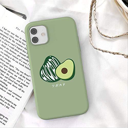 para iPhone 12 Mini 11 Pro MAX 5 5s 6 6s 7 8 Plus SE 2020 XR X XS MAX Carcasa de teléfono de Aguacate Verde Liso de Dibujos Animados Funda Trasera de TPU Suave para iPhone 12 Pro 467