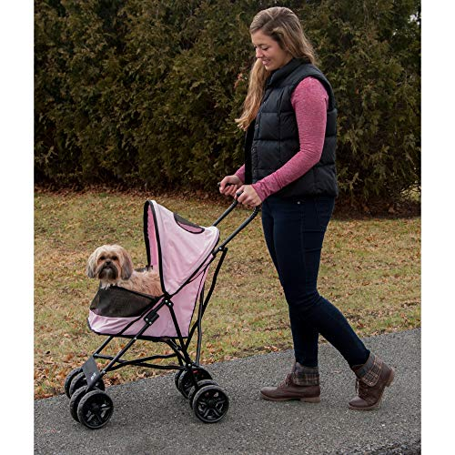 Pet Gear Travel Lite Pet Stroller for Cats and Dogs up to 15-pounds, Pink