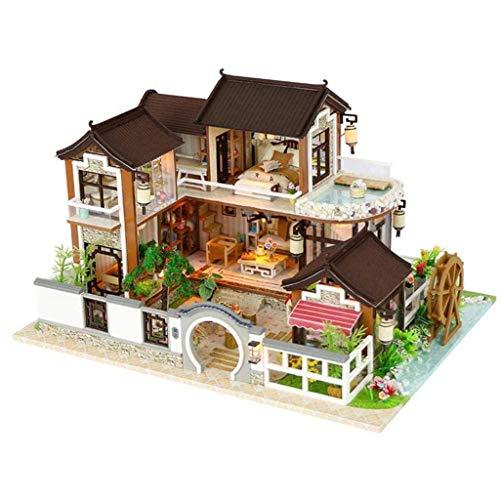 ECSWP Miniatura de la casa de muñecas, casa de muñecas en miniatura de muebles, la arquitectura antigua Sin cubierta de polvo