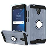 Atump Alcatel IdealXcite/Verso/CameoX/Xcite Version 5044r Case with HD Phone Screen Protector,360 Degree Rotating Ring & Bracket Resistant Back Cover for Alcatel 5044R Metal Slate