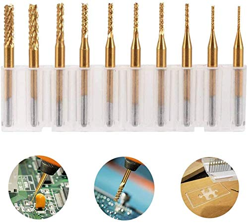 10 PCS Engraving Bit Coated Drilling Hole Carbide CNC Rotary Bits, End Mill Burrs Milling Cutter Bit with Titanium Plating for PCB SCM Circuit Board Plastic Fiber Wood Rotary Tool Set (0.8-3.175 mm)