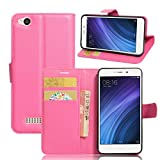 Tasche für Xiaomi Redmi 4A Hülle, Ycloud PU Ledertasche Flip Cover Wallet Hülle Handyhülle mit Stand Function Credit Card Slots Bookstyle Purse Design Rose Red