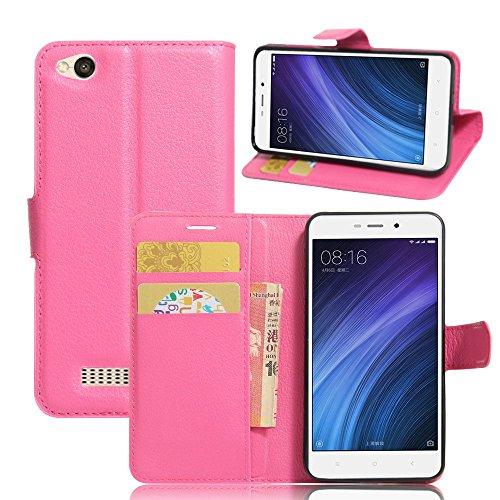 Ycloud Tasche für Xiaomi Redmi 4A Hülle, PU Ledertasche Flip Cover Wallet Hülle Handyhülle mit Stand Function Credit Card Slots Bookstyle Purse Design Rose Red