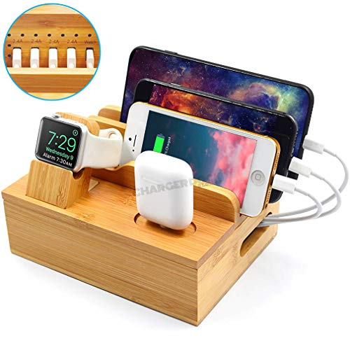 6 IN 1Bamboo USB-laadstation voor meerdere apparaten met 5 poorten voor mobiele telefoontablet elektronica, Apple Watch Stand/AirPods Dock-Station