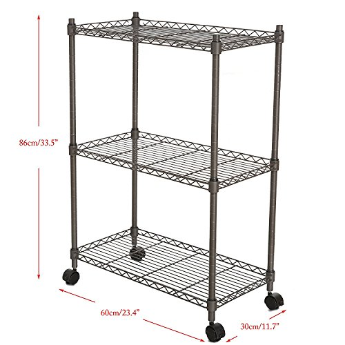 """Leoneva 3-Tier Adjustable Rolling Chrome Cart Wire Shelving Rack with Locking Wheels, 11.7""""(D) x 23.4""""(W) x 33.5""""(H), Gray"""