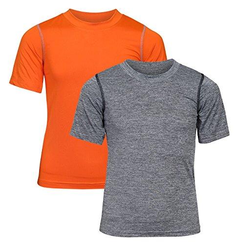 'Black Bear Boys\' Performance Dry-Fit T-Shirts, Grey and Orange, Medium / 8-10'