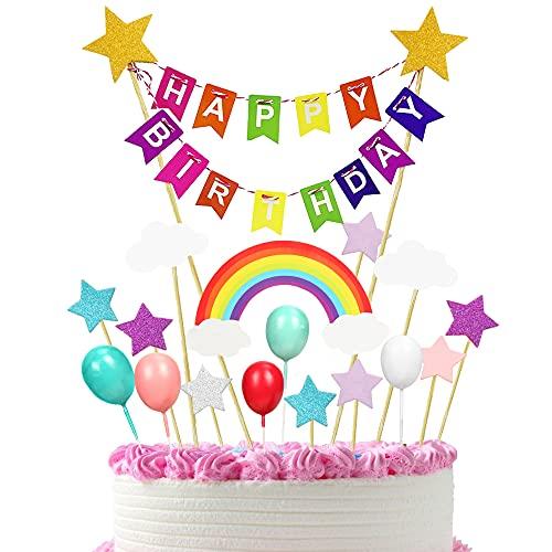 Happy Birthday Tortendeko Girlande, Regenbogen Tortendeko, Regenbogen Kuchen Deko,Cake Topper, Luftballons Kuchen Topper, Cupcake Bunting Banner für Mädchen Junge Kinder