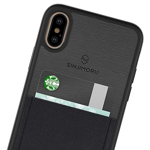 Sinjimoru - Funda para iPhone XS Max (2018) con tarjetero, carcasa de TPU para iPhone XS Max, estuche de iPhone XS Max con ranura para tarjetas de crédito. Sinji Funda Funda para iPhone XS Max, Negra.