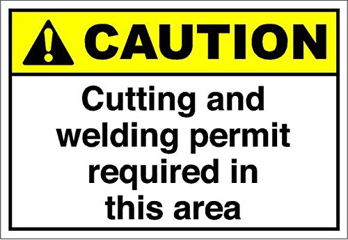 Personal Location Signs 16'X12'Cutting and Welding Permit Required in This Area Caution,Metal Tin Logo Bar Bar Cafe Pub Man Cave Family Art Board Wall Vintage Plaque Decoration