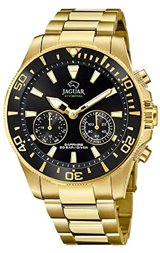 JAGUAR Reloj Modelo J899/3 de la colección Connected, Caja de 45,7 mm Negro con Correa de Acero Chapado para Caballero