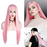 24' Long Pink Lace Front Wigs Straight Heat Resistant Glueless Synthetic Hair Replacement Wig For Women Half Hand Tied