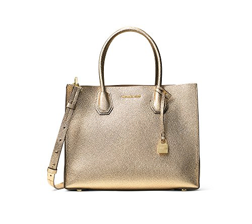 """Genuine structured pebbled leather Double handles with 5 1/2"""" drop; adjustable removable strap with 18"""" drop Gold tone hardware; detachable charm Triple compartment design features a lined center zip divider compartment with 1 zip pocket and 1 key ke..."""