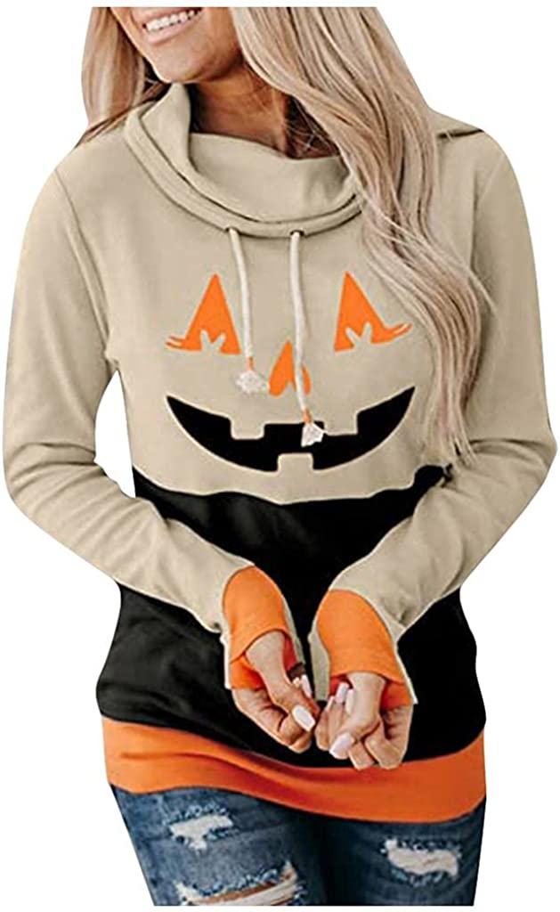 Halloween Sweatshirts for Women Hoodies Cowl Neck Casual Halloween Printed Long Sleeve Shirts Loose Blouse Pullover Tops