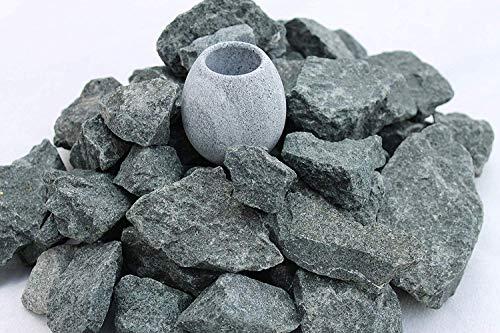 10 kg Saunasteine Diabas (vorgewaschen) 32-56 mm + Saunakko Saunatasse als SET 2,99/kg: