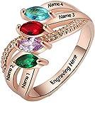 Anillo de nombre de bricolaje personalizado 4 anillos de piedra natal anillo cruzado anillo de promesa graduación para mujeres(Chapado en oro rosa de 18 k 21.75)