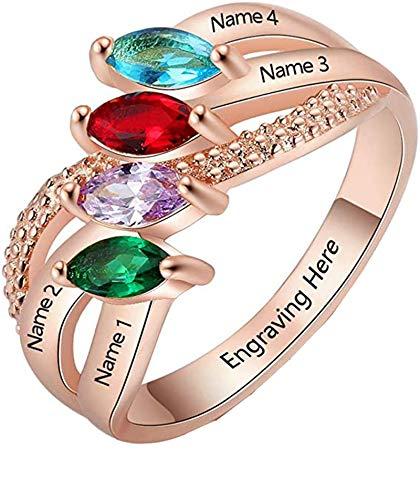 Anillo de nombre de bricolaje personalizado 4 anillos de piedra natal anillo cruzado anillo de promesa graduación para mujeres(Chapado en oro rosa de 18 k 22)