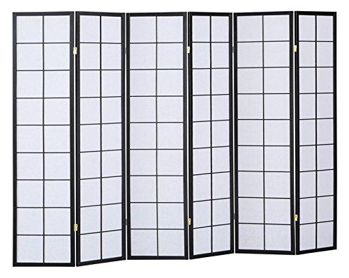 PEGANE Biombo japonés Shoji de Madera Color Negro de 6 Paneles