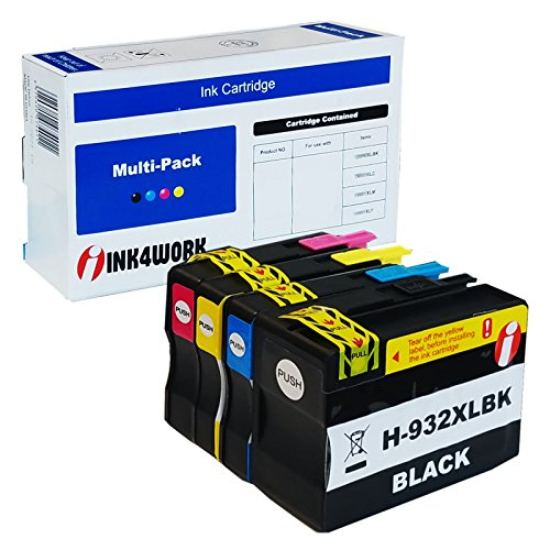 INK4WORK 4 Pack Compatible Replacement for HP 932XL 933XL Ink Cartridge for use with OfficeJet 6100 6600 6700 7110 7610 7612 Printer