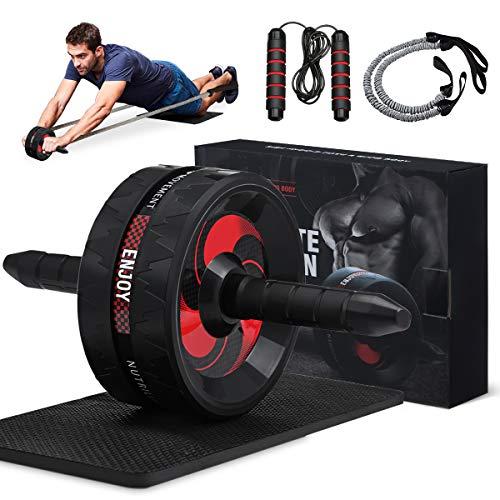gracosy 5 in 1 Bauchtrainer Set AB Roller Bauchmuskeltrainer Fitness Geräte für Zuhause und Fitnesstudios mit Springseil Widerstandsbänder and Knieschoner, für Männer und Frauen Bauchmuskeltraining