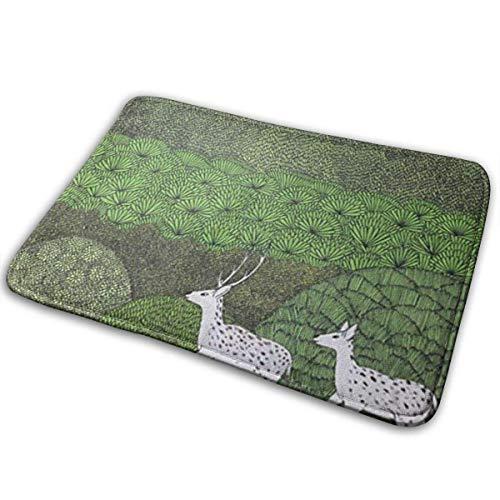 Liuqy Bath Mat Sika Deer Memory Foam Bath Mats Non Slip Soft Absorbent Bath Rugs Rubber Back Runner Mat for Kitchen Bathroom Floors,40x60cm
