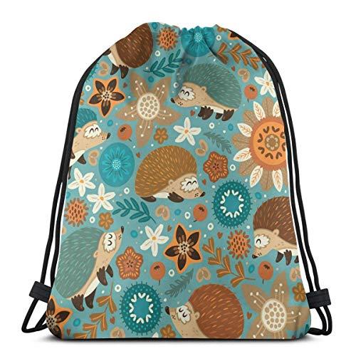 Medlin Igel und Blumen Leichte Kordelzug Tasche Sport Gym Sack Tasche Rucksack 36 x 43 cm