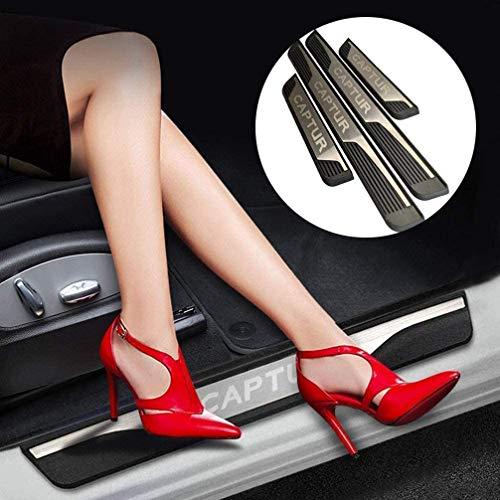 ASDDD 4Pcs Auto Äußere Schutz Einstiegsleisten Türschweller, für Renault Captur 2014-2020 Protector Door Sill Kick Plates, Edelstahl Rutschfestes Anti-Kratz Außentürschwellen Sticker Zubehör