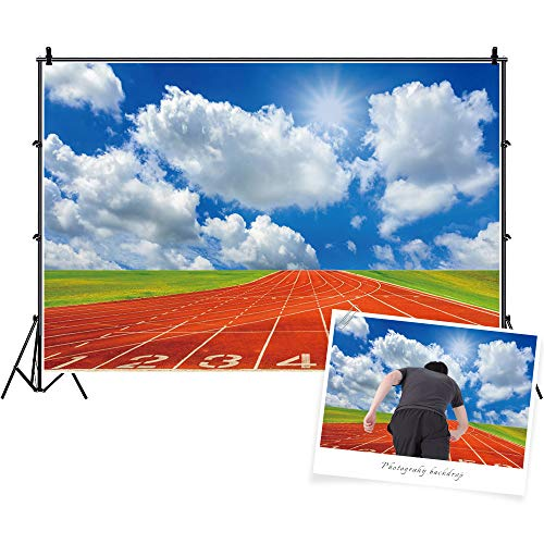 Baocicco 7x5ft Race Course Match Red Running Tracks Backdrop Photography Background Blue Sky White Clouds Green Grass Sports Game Sports Theme Sports Club Sport Field Polyester Photo Studio Props