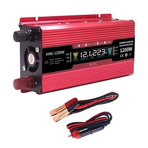Pico 500W / 1200W / 2000W Coche Inversor de Energia, DC 12V a AC 220V Convertidor de Voltaje, con AC Salidas y USB Puertos de Carga, LCD Monitor, Coche Encendedor de Cigarrillos Adaptador