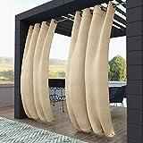 Cortinas para Exterior 132x215cm Beige Protección Rayos UV, Resistente Impermeable Transpirable para Patio, Exteriores, Jardín