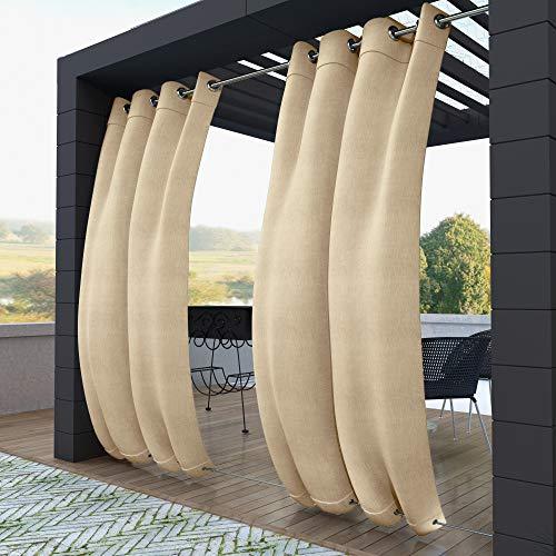 Clothink Outdoor Vorhänge Aussenvorhang B:132xH:245cm mit Ösen Oben(ID:4cm)+Unten(ID:1,6cm) Winddicht Wasserabweisend Sichtschutz Sonnenschutz UVschutz Beige