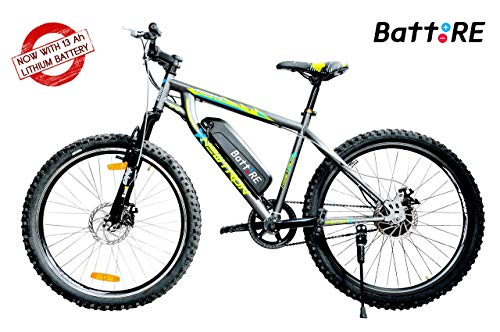 BattREElectric Cycle - NEWTRON   13Ah Lithium Battery   Runs 40 to 60 kms on Full Charge   5 Level Pedal Assist   LCD Display   Front & Rear Disc Brakes