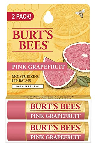 Burt's Bees 100% Natural Moisturizing Lip Balm, Pink Grapefruit with Beeswax & Fruit Extracts - 2 Tube