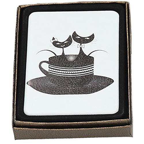 Les Trésors De Lily [Q7373] - Miroir Créateur 'Les Chats' blanc noir (dans tasse) - 8.5x6 cm