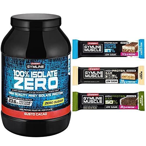 enervit Gymline Pack | 100% Whey Protein Isolate Zero Cacao 900gr + 3 Protein Bar [Omaggio]