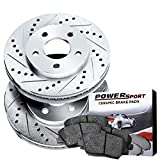 Power Sport Cross Drilled Slotted Brake Rotors and Ceramic Brake Pads Kit -80552 [FRONTS]